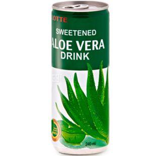 Lotte Aloe Vera, 0,24 л, Напиток соковый Лотте Алое, негазированный, ж/б