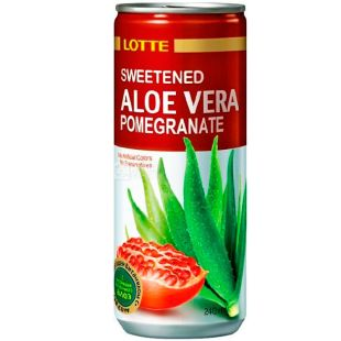 Lotte, Aloe Vera Pomegranate, 0,24 л, Напій соковий Лотте Алое-Гранат, негазований, ж/б