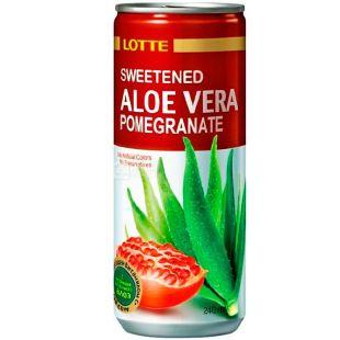 Lotte, Aloe Vera Pomegranate, 0,24 л, Напиток соковый Лотте Алое-Гранат, негазированный, ж/б