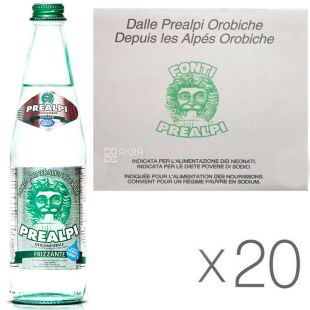 Fonti Prealpi, 0,5 л, Упаковка 20 шт., Преалпі, Вода мінеральна, газована, скло