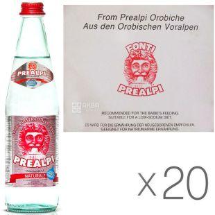 Fonti Prealpi, 0.5 L, Pack of 20 pcs, Fonti Prealpi, Mineral water, still, glass