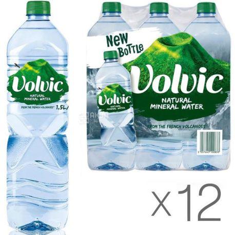 Volvic, 1,5 л, Упаковка 12 шт., Вольвик, Вода минеральная, негазированная, ПЭТ