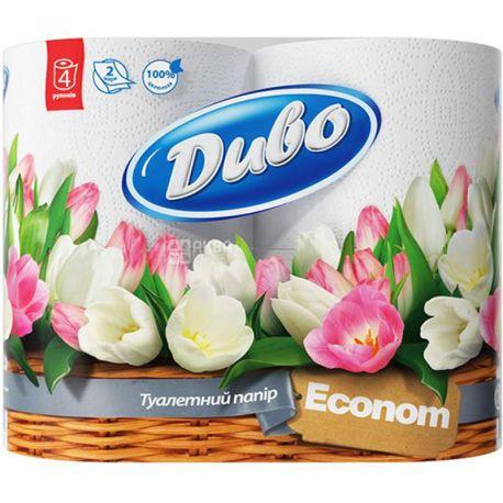 Диво Econom, 4 рул., Туалетний папір, Економ, 2-х шаровий