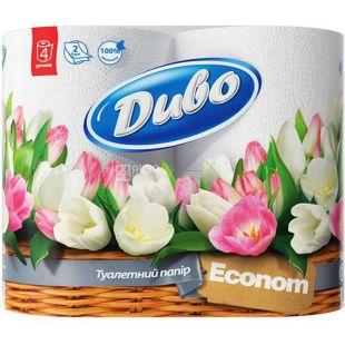 Диво Econom, 4 рул., Туалетная бумага, Эконом, 2-х слойная