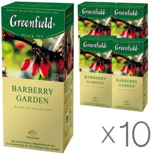 Greenfield Barberry Garden, 25 пак., Чай Гринфилд Барбэри Гарден, черный с барбарисом, Упаковка 10 шт.