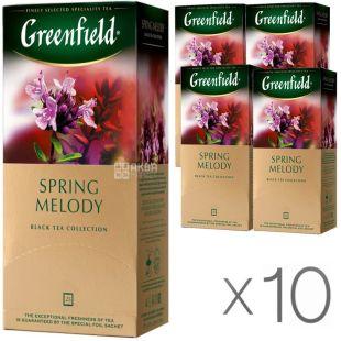 Greenfield Spring Melody, 25 пак., Чай Грінфілд Спрінг Мелоді, чай чорний з чебрецем, Упаковка 10 шт.