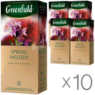 Greenfield Spring Melody, 25 пак., Чай Гринфилд Спринг Мэлоди, черный с чабрецом, Упаковка 10 шт.