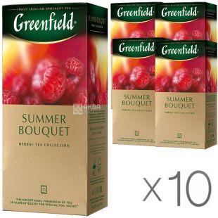 Greenfield Summer Bouquet, 25 пак., Чай Гринфилд, Саммер Букет, травяной с малиной, Упаковка 10 шт.
