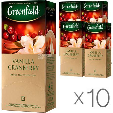 Greenfield Vanilla Cranberry, 25 пак., Чай Гринфилд, Ванилла Крэнберри, черный с ароматом клюквы и ванили, Упаковка 10 шт.