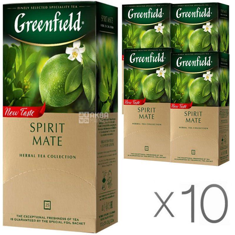 Greenfield Spirit Mate, 25 пак., Чай Гринфилд, Спирит Матэ, травяной со вкусом лайма и мяты, Упаковка 10 шт.