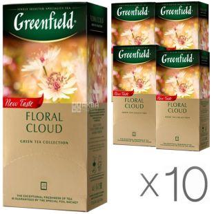 Greenfield Floral Cloud, 25 пак., Чай Гринфилд, Флорал Клауд, зеленый с добавками, Упаковка 10 шт.