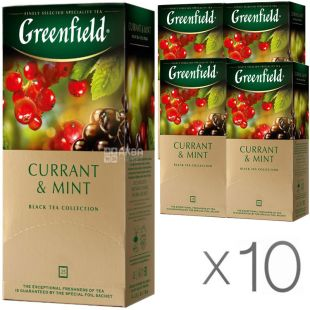 Greenfield, Currant Mint, 25 пак., Чай Гринфилд, Каррент Минт, черный со смородиной, Упаковка 10 шт.