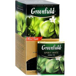 Greenfield, Spirit Mate, 25 пак., Чай Грінфілд, Спіріт Мате, трав'яний зі смаком лайма і м'яти