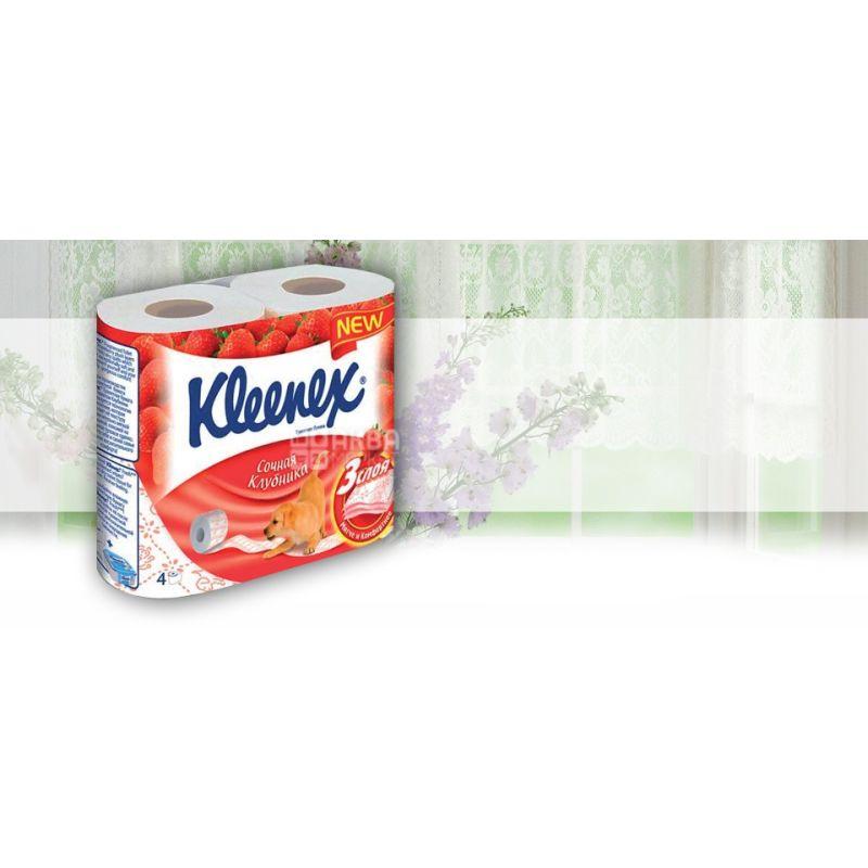 Kleenex, 4 рулона, туалетная бумага, Aromа Care, Клубника, м/у