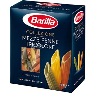 Barilla Mezze Penne Tricolore, 500 г, Макароны Барилла Медзе Пенне Триколоре, трехцветные