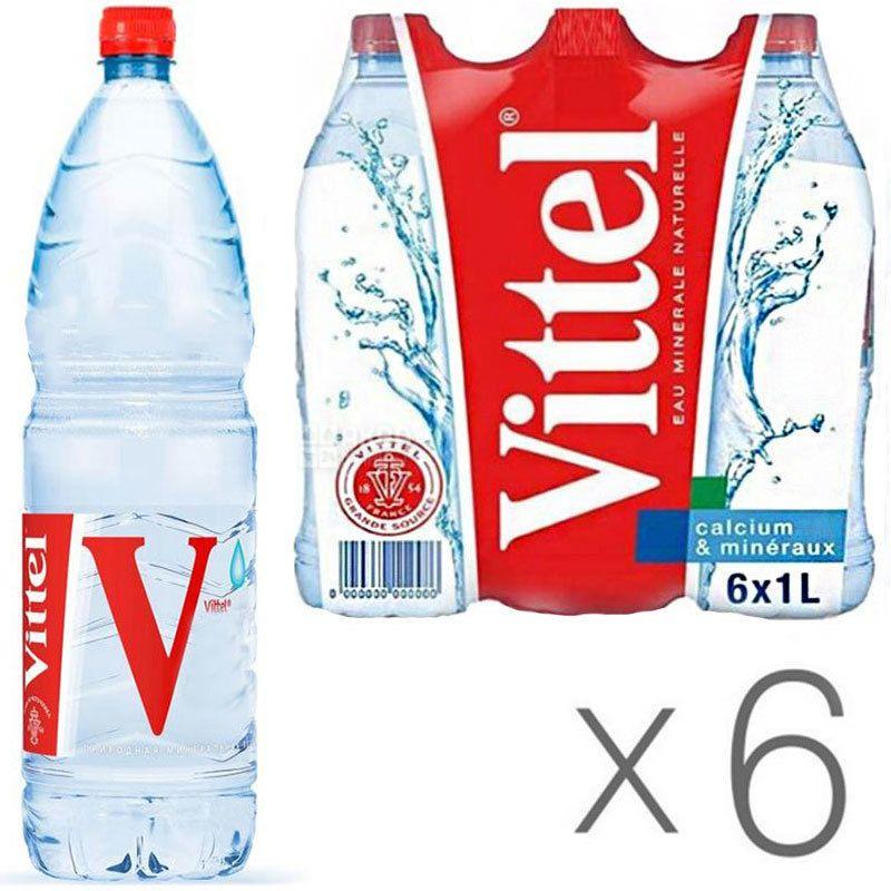 Vittel, 1 л, Упаковка 6 шт., Виттель, Вода минеральная негазированная, ПЭТ