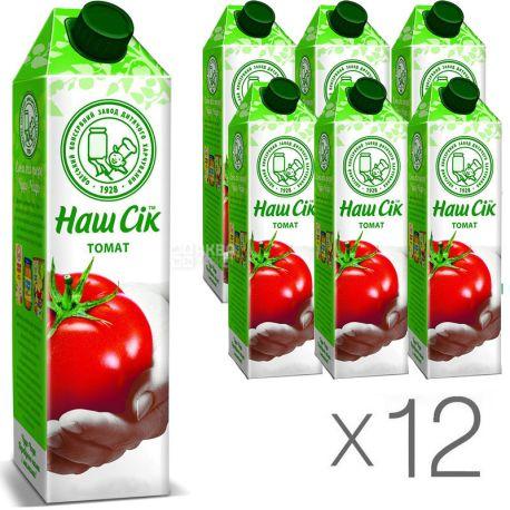 Наш Сок, Томатный, 0,95 л, Сок с мякотью, Упаковка 12 шт.