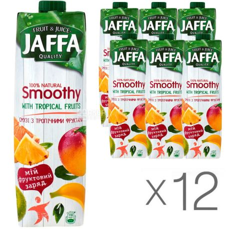 Jaffa Smoothy Wild Berries, Тропические фрукты, Упаковка 12 шт. по 0,95 л, Джаффа, Смузи натуральный