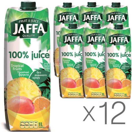 Jaffa, Tropical Fruits, Тропічні фрукти, Упаковка 12 шт. по 1 л, Джаффа, Нектар 100% натуральний