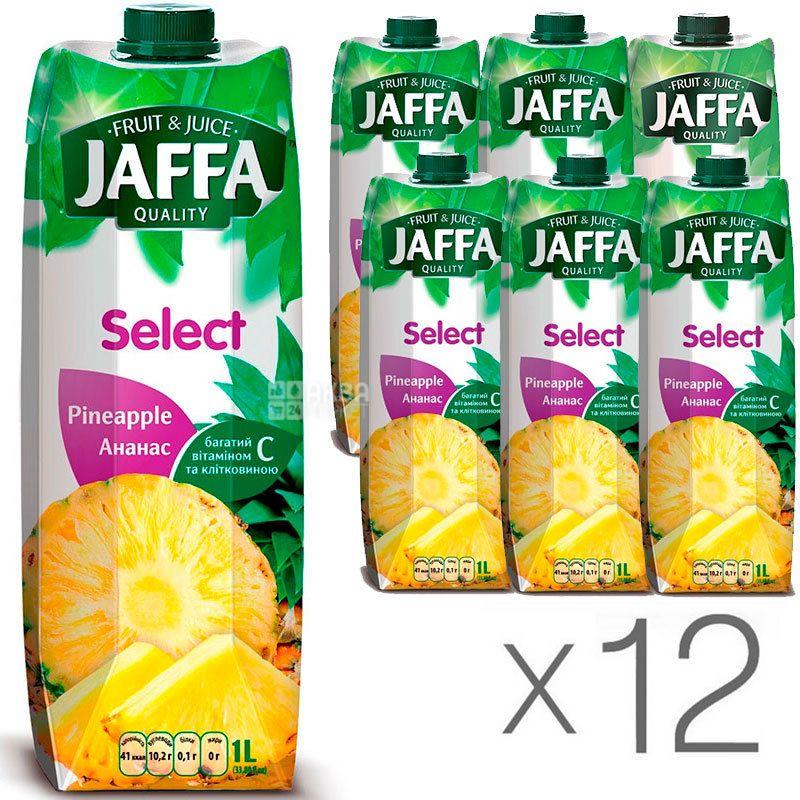 Jaffa, Select, Ананасовий, Упаковка 12 шт. по 1 л, Джаффа, Нектар натуральний