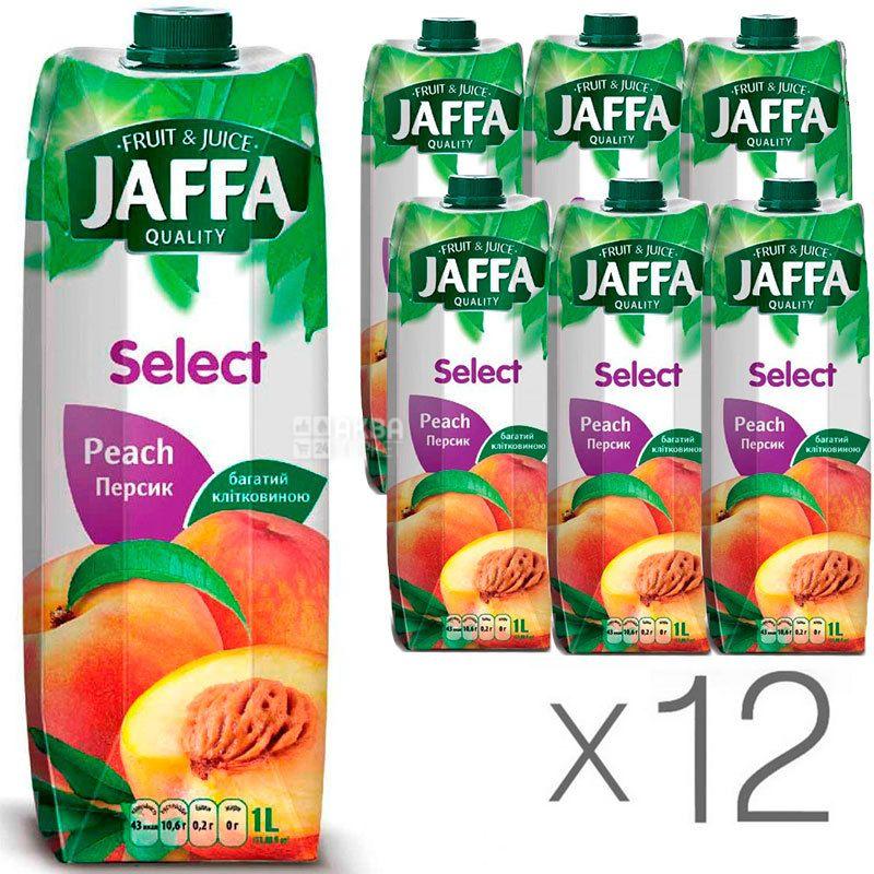 Jaffa, Select, Персиковий, Упаковка 12 шт. по 1 л, Джаффа, Нектар натуральний