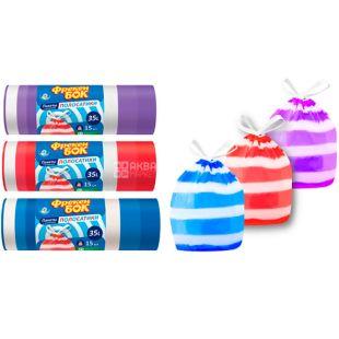 Freken Bock, 15 pcs., 35 L, Garbage bags with puffs, Stripes
