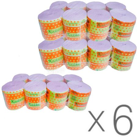Кохавинка, 6 упаковок по 8 рул., Туалетная бумага, без гильзы, розовая, 1-слойная