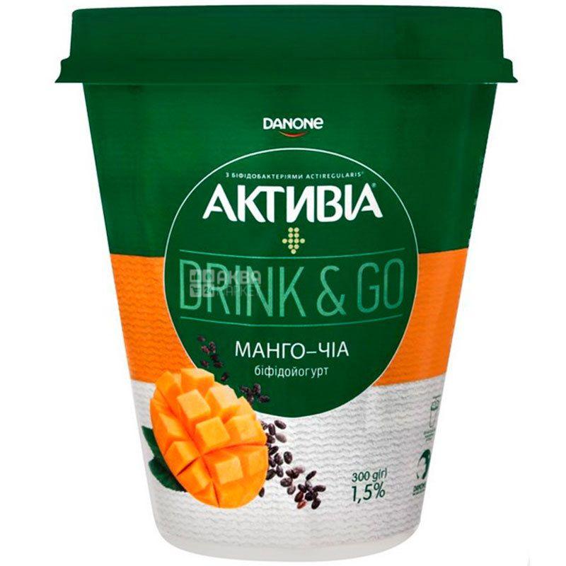 Активиа, Drink&Go, 300 г, Бифидойогурт, 1,5%, Манго-Чиа