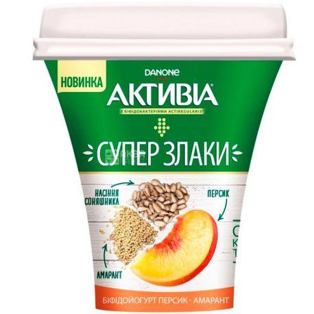 Активиа, Суперзлаки, 230 г, Бифидойогурт, 3%, Персик Амарант