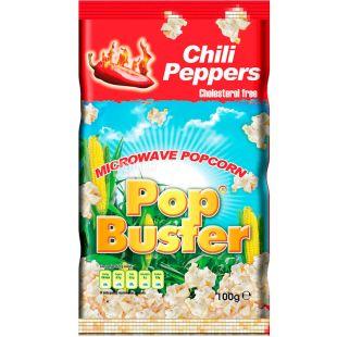 Pop Buster, 100 г, Попкорн для мікрохвильової печі Поп Бастер, з чилійським перцем