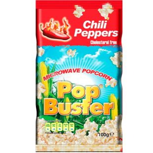 Pop Buster, 100 г, Попкорн для микроволновой печи Поп Бастер, с чилийским перцем