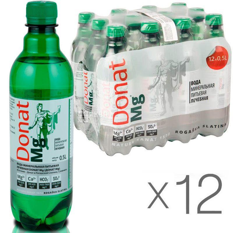 Donat Mg, 0,5 л, Упаковка 12 шт., Донат, Вода сильногазированная, с магнием, ПЭТ