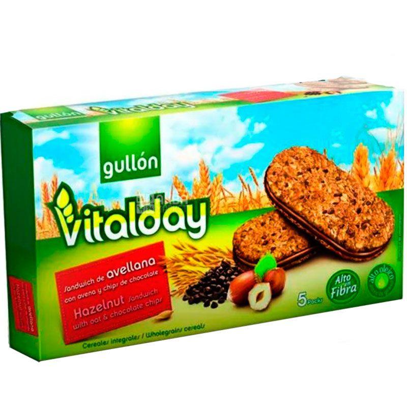 Gullon Vitalday Hazelnut Sandwich, 220 г, Гуллон Виталдай, Печенье сэндвич с фундуком, зерновое