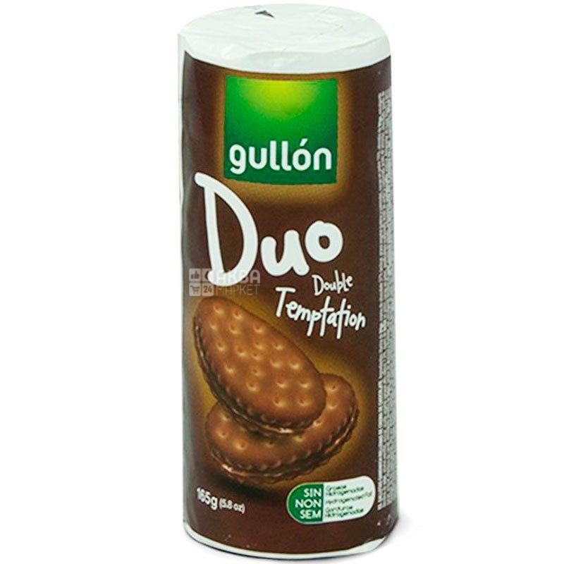 Gullon Duo Double Temptation, 165 г, Гуллон Дуо Двойное наслаждение, Печенье сэндвич шоколадное