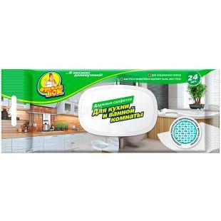 Фрекен Бок, 24 шт, Серветки вологі для кухні та ванної