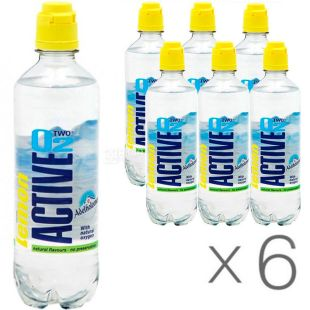Active O2 Lemon, 0,5 л, Упаковка 6 шт., Вода підсолоджена, збагачена киснем Актив О2, зі смаком лимона, ПЕТ