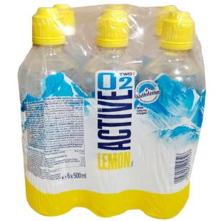 Active O2 Lemon, 0,5 л, Упаковка 6 шт., Вода подслащенная, обогащенная кислородом Актив О2, со вкусом лимона, ПЭТ