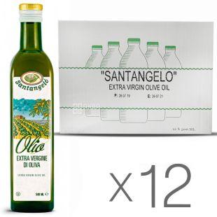 Santangelo Olive Oil Extra Virgin, 500мл, Олія Сантанжело Екстра Вірджин, оливкова, скло, 12 шт. в упаковке