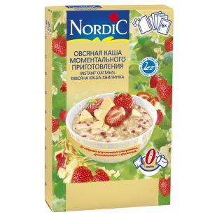 NordiC, 210 г, Каша вівсяна Нордік, Білий шоколадом та полуниця, швидкого приготування, 6х35 г