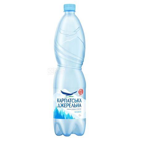 Карпатська Джерельна, 1,5 л, упаковка 6 шт., Вода мінеральна негазована, ПЕТ