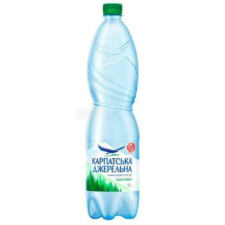Карпатська Джерельна, 1,5 л, Вода мінеральна слабогазована, ПЕТ