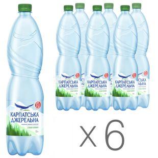 Карпатська Джерельна, 1,5 л, Упаковка 6 шт., Вода мінеральна слабогазована, ПЕТ