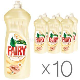 Fairy, Засіб для миття посуду Фейрі, Ніжні руки, з ромашкою і вітаміном Е, 1 л, Упаковка 10 шт.