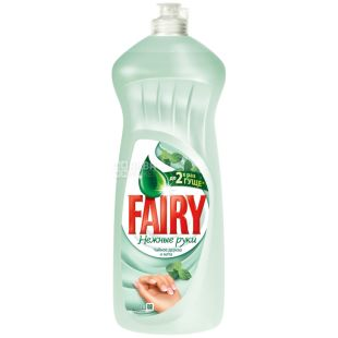 Fairy, Засіб для миття посуду Фейрі, Ніжні руки, Чайне дерево і м'ята, 1 л, Упаковка 10 шт.