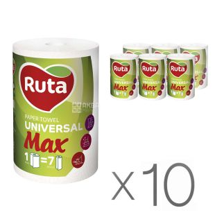 Ruta, MAX, 10 упаковок по 1 рул., Паперові рушники Рута Макс, 2-х шарові, 350 відривів