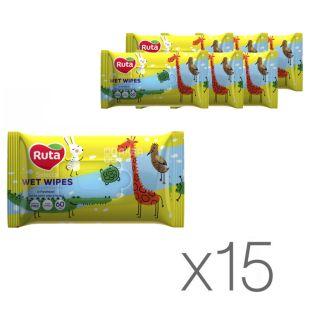 Ruta Selecta, 15 упаковок по 60 шт., Серветки вологі Рута Селекта, Веселі звірята, дитячі,з екстрактом алое
