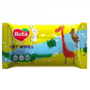 Ruta Selecta, Wipes wet Rue Selecta, Funny animals, children, with aloe extract, 60 PCs., 15 packs.