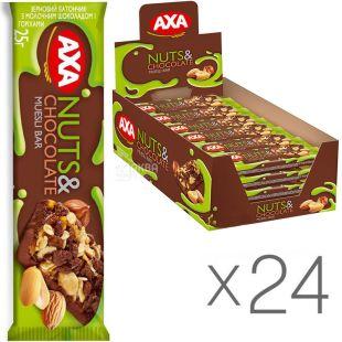 AXA, 25 г, Упаковка 24 шт., Батончик зерновой Акса с молочным шоколадом и орехами