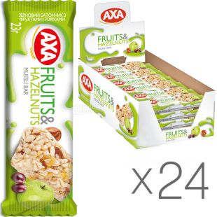 AXA, 23 г, Упаковка 24 шт., Батончик зерновой Акса с фруктами и орехами