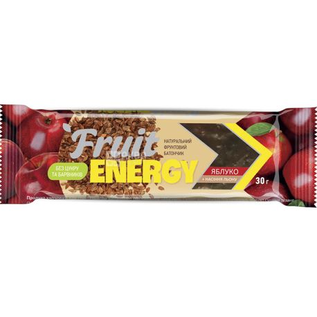 Вітапак, Fruit Energy, 30 г, Батончик, Яблуко і насіння льону